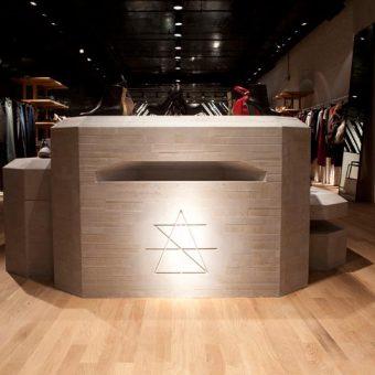 Custom branding details by modern retail design firm