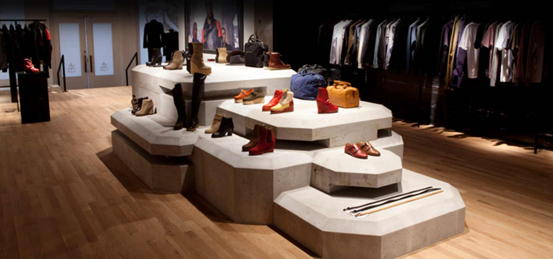 """retail design firms nyc create a modern, moody space for """"Surface to Air"""" (side view)"""