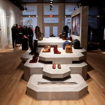 Surface to Air, Custom Shoe display for edgy retail design